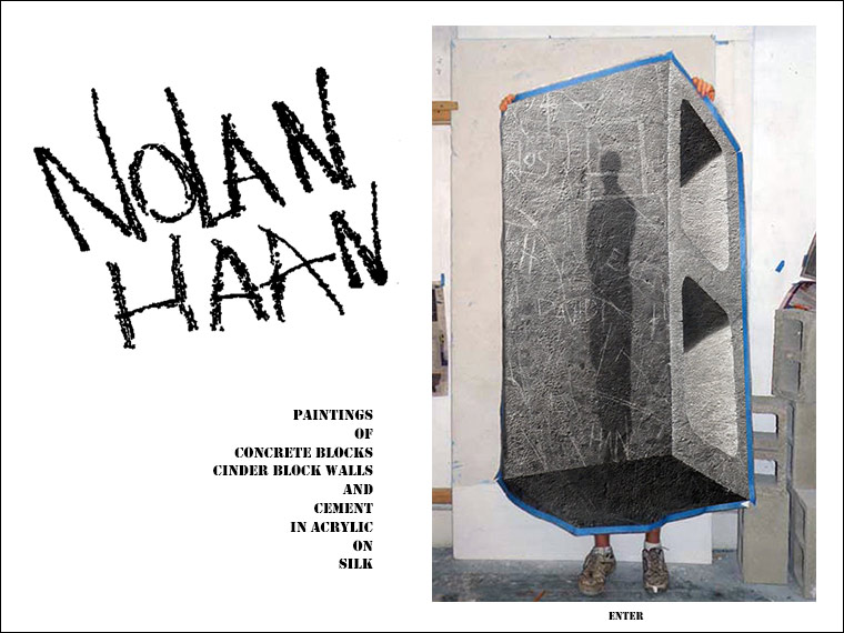 artist Nolan Haan with painting of concrete block